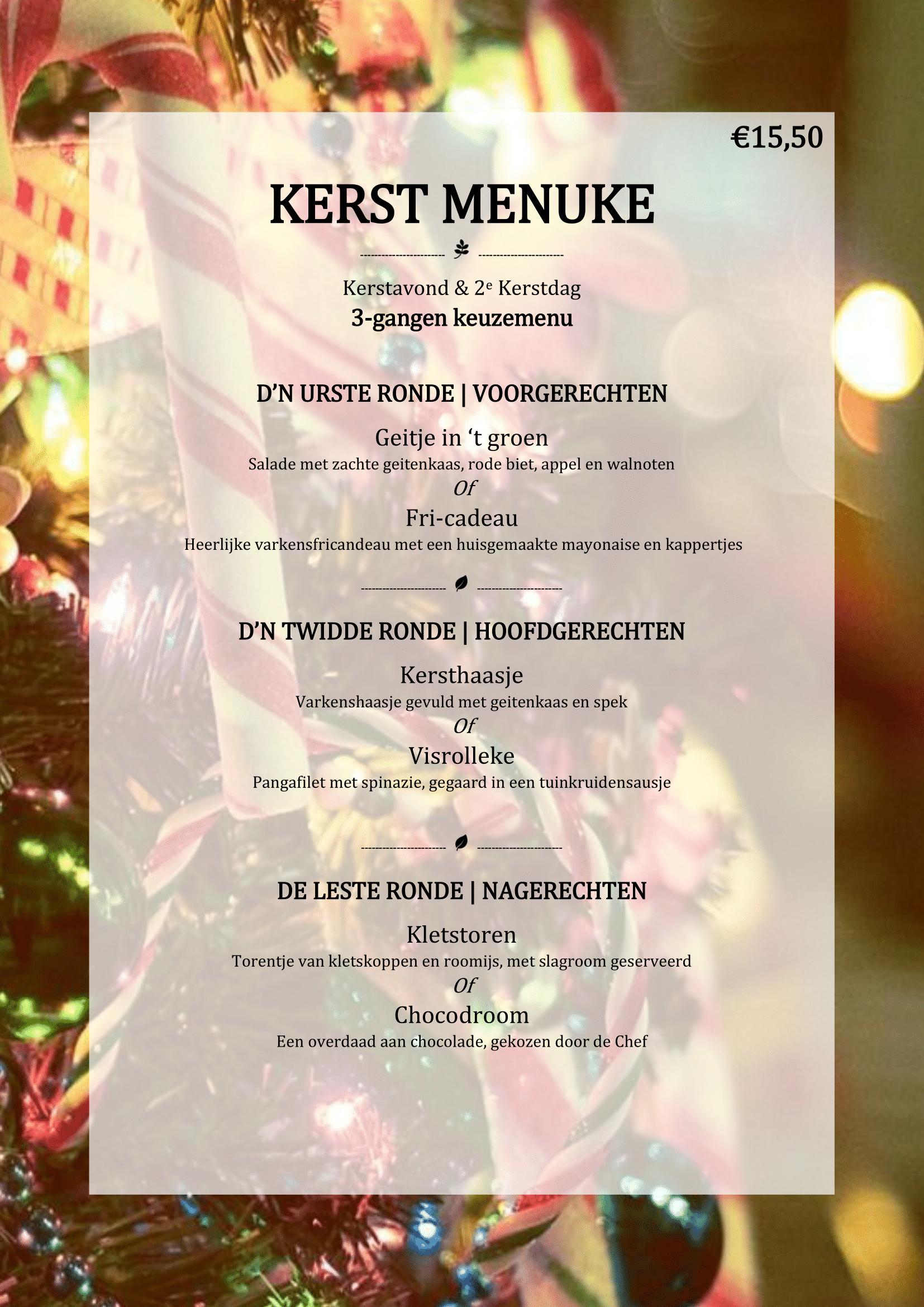 3 Gangen Kerstdiner.Kerstmenu 2017 3 Gangen Gasterij T Dorpsgenot